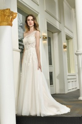 One Shoulder Tulle Sexy A-Line Lace Wedding Dress_8