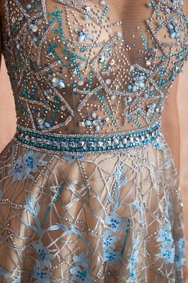 Bateau Cap Sleeves Belted Sexy Long Lace Prom Dresses | Gorgeous Lace Evening Dresses_8