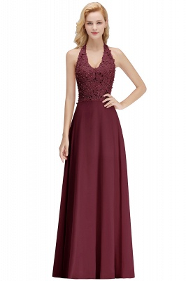 Elegant Halter A-line Appliques Chiffon Long Bridesmaid Dresses | Simple Wedding Guest Dresses_3