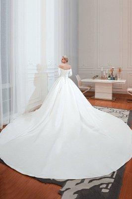 Gorgeous Off the Shoulder Half Sleeves Floor Length A-line Satin Wedding Dresses_10