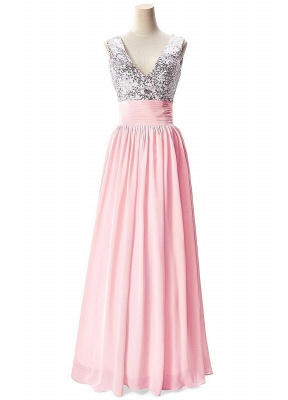 A-line V-neck Chiffon Party Dress With Sequined_1
