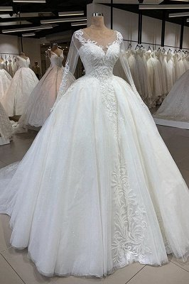 Glassic Long Sleeve Scoop A Line Lace Wedding Dresses | Applique Beading Puffy illusion Back Bridal Gown