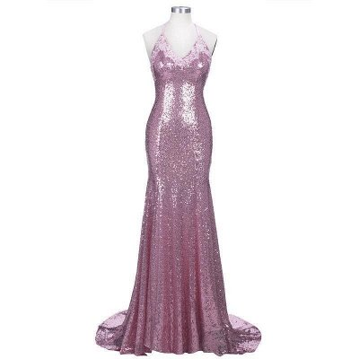 Spaghettis-Straps Rose Pink Sequins Prom Dresses | Sparkly Long Mermaid Formal Dress_6