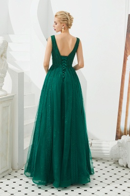 Gorgeous Straps V-neck A-line Long Prom Dresses | Jade Floor Length Evening Dresses_6