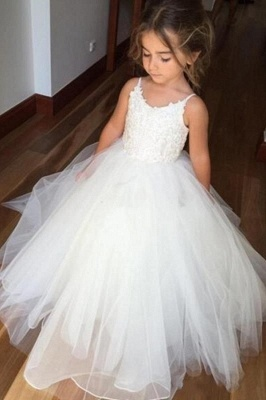 Lovely White Girl Party Dresses | Spaghetti Straps Tulle Flower Girl Dresses_2