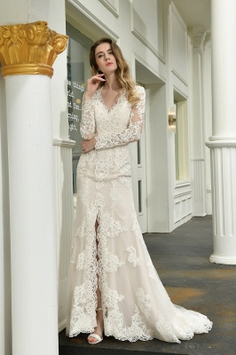 Gorgeous V-Neck Long Sleeves Form-Fitting Wedding Dress With Slit_10