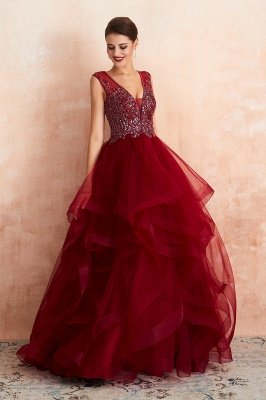 Sleeveless V-neck Sexy Long Tiered Beaded Prom Dresses | Elegant Organza Long Evening Dresses_7