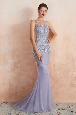 Sleeveless Bateau Beaded Sexy Long Mermaid Prom Dresses | Elegant Lilac Evening Dresses_8