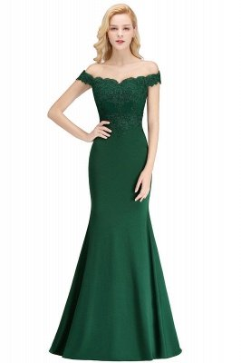 Cheap Mermaid Off-the-shoulder Long Appliques Satin Bridesmaid Dress in Stock_8