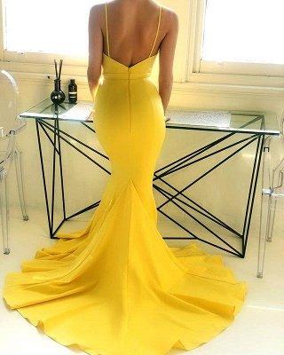 Spaghetti Straps Deep V-neck Yellow Sexy Mermaid Prom Dresses | Chic Style Formal Dresses Long_3