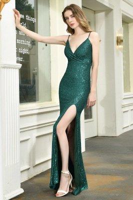 Black Spaghetti Strap V Neck Sequined Front Slit Floor Length Sheath Prom Dresses | Backless Evening Gown_11