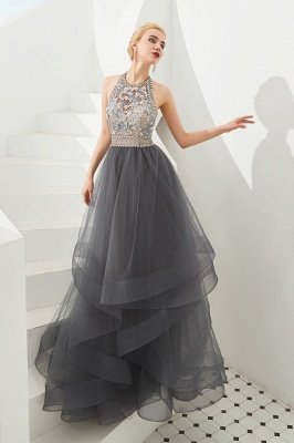 Stylish Floor Length Halter Beaded Tiered Blackless Tulle Prom Dresses_4