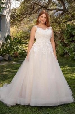 Straps Floor Length A-line Lace Tulle Wedding Dresses | Plus Size Bridal Gown