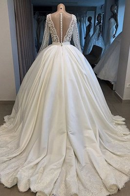 Princess V Neck Long sleeve Beading Pearls Sequin Ball Gown Wedding Dresses |  Puffy Illusion Back Bridal Gown_3