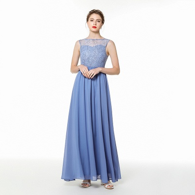 Bateau Sleeveless Floor Length Lace Chiffon Prom Dresses | Long Evening Dresses_2