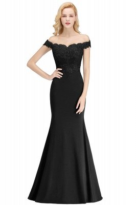 Cheap Mermaid Off-the-shoulder Long Appliques Satin Bridesmaid Dress in Stock_7