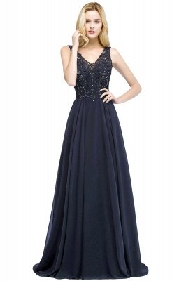 Straps V Neck  Applique Crystal Sequin Floor Length A Line Prom Dresses_50