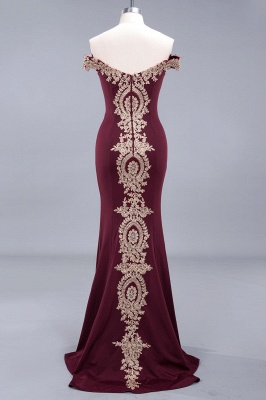 Simple Off the Shoulder Appliques Fitted Floor Length Evening Gown_15
