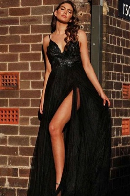 Spaghetti Straps Open Back Lace Appliques V-neck Sexy Black Prom Dresses with a Leg Slit