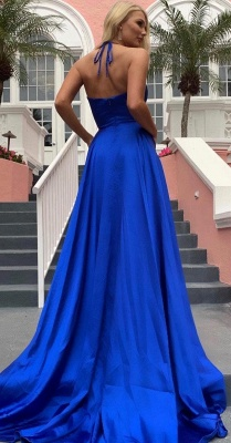 Silky A-line Spaghetti Straps Deep V-neck Royal Blue Prom Dresses with a Leg Slit_5