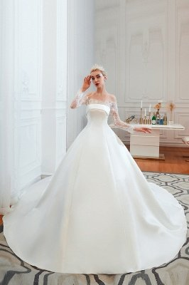 Off the Shoulder Long Sleeves Lace Up Floor Length A-line Lace Wedding Dresses_1
