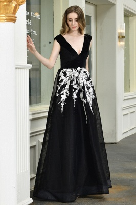 Black Straps Deep V neck A Line Prom Dresses | Applique Lace Corset Back Evening Dresses_3