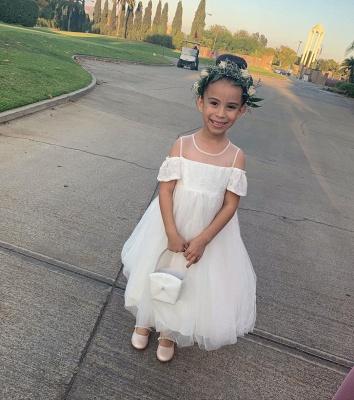 Jewel Cold-Shoulder Sheer Top Lace Tulle Flower Girl Dresses_4