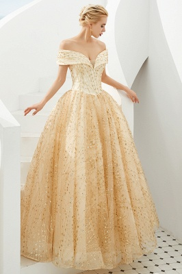 Off the Shoulder A-line Long Lace Beaded Prom Dresses |  Floor Length Evening Dresses_6