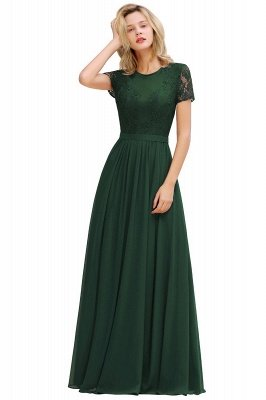 Short Sleeves Floor Length Jewel Chiffon Bridesmaid Dresses | Burgundy Prom Dresses_7