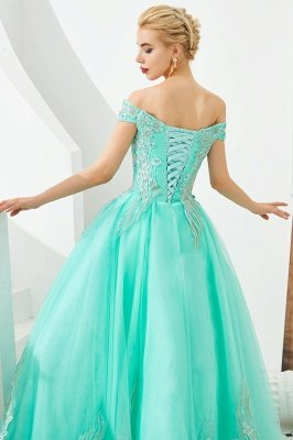 Glamorous Off the Shoulder Sweetheart Applique A-line Floor Length Prom Dresses_16