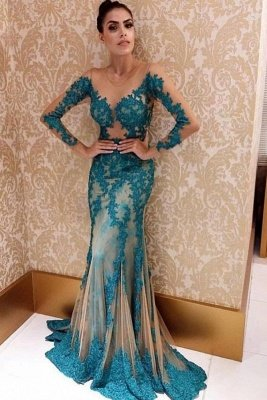 Sweep Train Jewel Elegant Lace Applique Prom Dresses with Long Sleeves