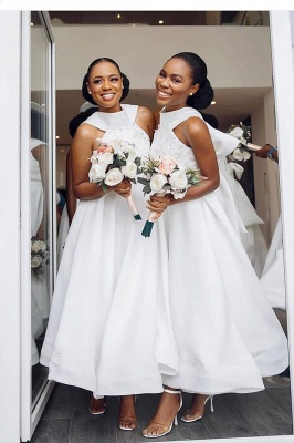 Tea Length A-line Sleeveless Elegant Bridesmaid Dresses | Affordable Maid of Honor Dresses_2