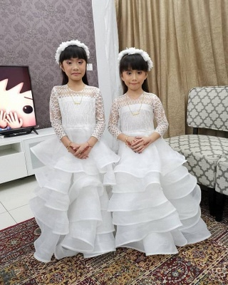 Jewel Long Sleeves Lace Tulle Long Flower Girl Dresses_3