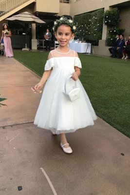 Jewel Cold-Shoulder Sheer Top Lace Tulle Flower Girl Dresses
