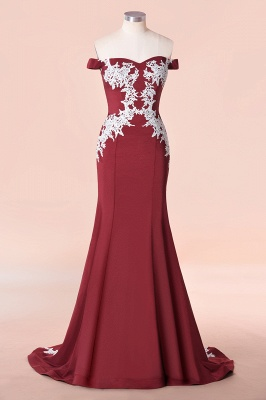Off the Shoulder Appliques Long Cheap Bridesmaid Dresses | Burgundy Maid of Honor Dresses_1