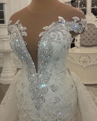 Luxury Sheer Jewel Cap Sleeve Applique Beading Mermaid Wedding Dresses With Detachable Skirt_4