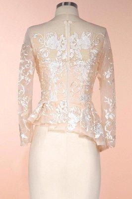 Elegant Jewel Floor Length Long Sleeves Peplum Champagne Prom Dresses_7