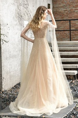 Georgeous Bateau Beading Crystal Prom Dresses | Floor Length A Line Evening Gown_10