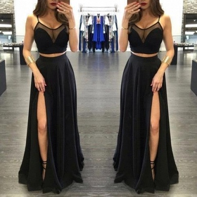 Sheer-Neck Side Two-Piece Black Sexy Slit Long Prom Dresses_2