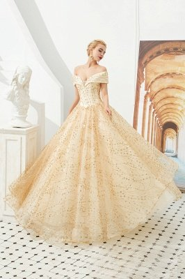 Off the Shoulder A-line Long Lace Beaded Prom Dresses |  Floor Length Evening Dresses_4