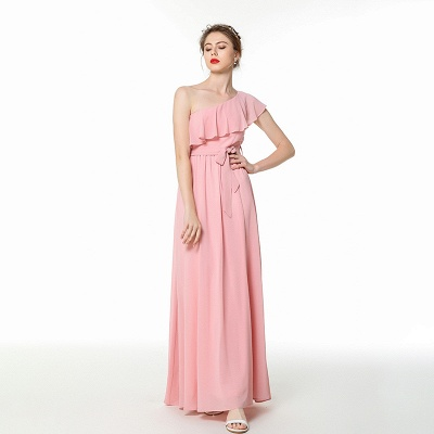 One Shoulder Belted Floor Length Chiffon Prom Dresses | Long Cheap Evening Dresses Online_4