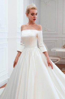 Gorgeous Off the Shoulder Half Sleeves Floor Length A-line Satin Wedding Dresses_11