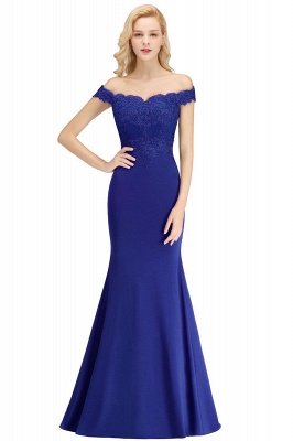 Cheap Mermaid Off-the-shoulder Long Appliques Satin Bridesmaid Dress in Stock_5