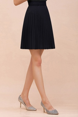 A-line Knitted Knee Length Pleated Skirt_99