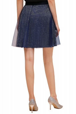 Sparkly Knee Length Metallic A-line Skirt_12