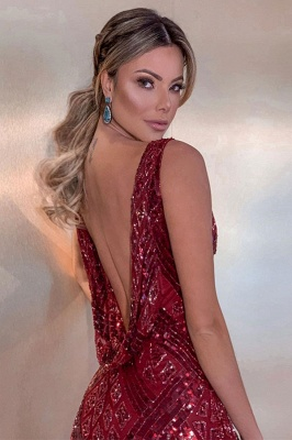 Sparkling Burgundy Straps V-Neck Sequin  Backless Sheath Floor Length Prom Dresses | Sexy Evening Dresses_2