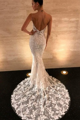 Spaghetti Strap V Neck Lace Mermaid Prom Dresses | Backless Applique Formal Evening Dresses_1