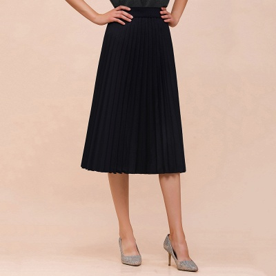 A-line Knitted Short Pleated Skirt_7