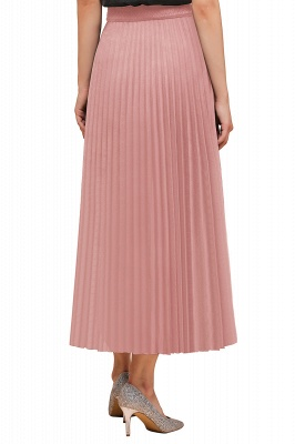Knitted A-line Tea Length Pleated Skirt_31