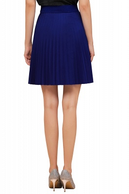 A-line Knitted Knee Length Pleated Skirt_89